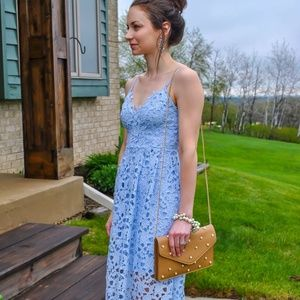 Astr lace dress lace midi dress powder blue